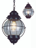 """Catalina 13.5"""" Outdoor Rustic Bronze Nautical Hanging Lantern with Round Seeded Glass Design"""