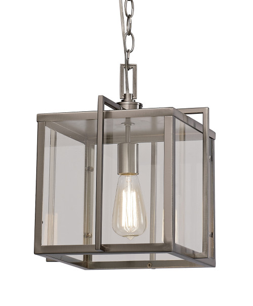 """Eastwood 12"""" Indoor Brushed Nickel Industrial Pendant with Open Box Contemporary Design"""