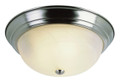"""Browns 15"""" Indoor Brushed Nickel Traditional Flushmount with Frosted White Shade"""