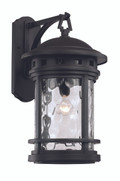 "20"" Outdoor Black Nautical Wall Lantern with Decorative Hook Ring Accent"