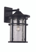 "14.5"" Outdoor Black Transitional Wall Lantern with Cast Aluminum Frame"