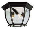 """Angelus 6.5"""" Outdoor Black Traditional Flushmount Lantern with Clear Beveled Glass"""
