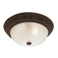 """Del Mar 11"""" Indoor Rubbed Oil Bronze Traditional Flushmount with Frosted Leaf Pattern Shade"""