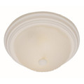 """Del Mar 13"""" Indoor Antique White Traditional Flushmount with Frosted Leaf Pattern Shade"""