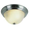 """Del Mar 13"""" Indoor Brushed Nickel Traditional Flushmount with Frosted Leaf Pattern Shade"""