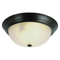 """Del Mar 13"""" Indoor Rubbed Oil Bronze Traditional Flushmount with Frosted Leaf Pattern Shade"""