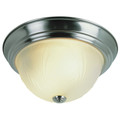 """Del Mar 15"""" Indoor Brushed Nickel Traditional Flushmount with Frosted Leaf Pattern Shade"""