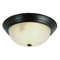 """Del Mar 15"""" Indoor Rubbed Oil Bronze Traditional Flushmount with Frosted Leaf Pattern Shade"""