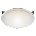 """Neptune Neptune 12"""" Indoor Brushed Nickel Contemporary Flushmount with White Frost Glass Shade and Low Profile Design"""