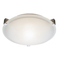 """Neptune Neptune 15"""" Indoor Brushed Nickel Contemporary Flushmount with White Frost Glass Shade and Low Profile Design"""