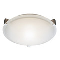 """Neptune Neptune 20"""" Indoor Brushed Nickel Contemporary Flushmount with White Frost Glass Shade and Low Profile Design"""