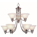 "Perkins Perkins 30"" Brushed Nickel Modern Chandelier with Marbelized Glass Shades"