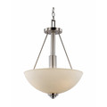 """Mod Pod 15.75"""" Indoor Brushed Nickel Modern Pendant with White Frost Glass Shades"""