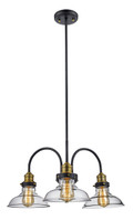 """Jackson 24"""" Indoor Rubbed Oil Bronze Industrial Pendant with Vintage Style Clear Glass Shade"""