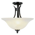 """Aspen 15"""" Indoor Rubbed Oil Bronze Transitional  Semiflush with Mini Chandelier Branched Arms"""