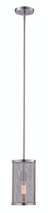 """Mesh 6.25"""" Industrial Brushed Nickel Mini Pendant with Cylindrical Shade - Perfect for Vaulted Ceilings"""