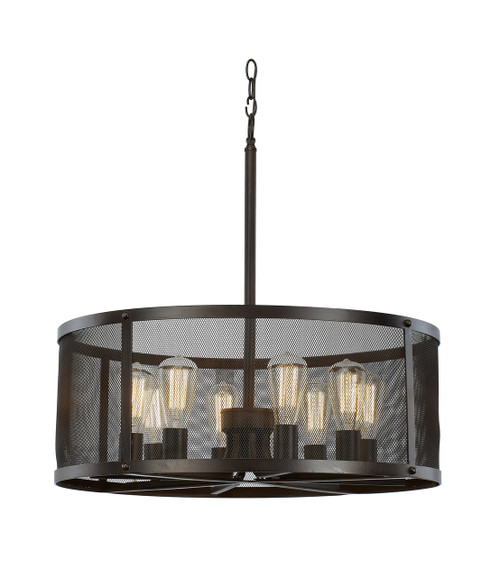 """Mesh 24.75"""" Industrial Rubbed Oil Bronze Pendant with Cylindrical Shade - Perfect for Vaulted Ceilings"""