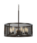 "Mesh 24.75"" Industrial Rubbed Oil Bronze Pendant with Cylindrical Shade - Perfect for Vaulted Ceilings"