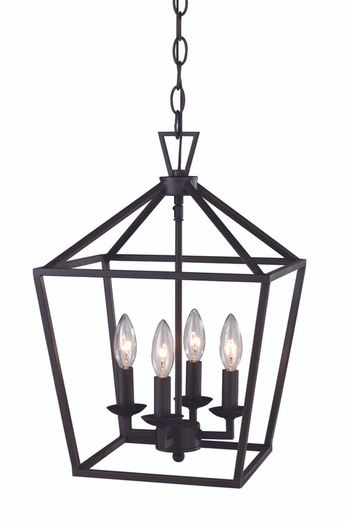 "Lacey 12"" Indoor Rubbed Oil Bronze Colonial Pendant with Open Birdcage Style Shade"