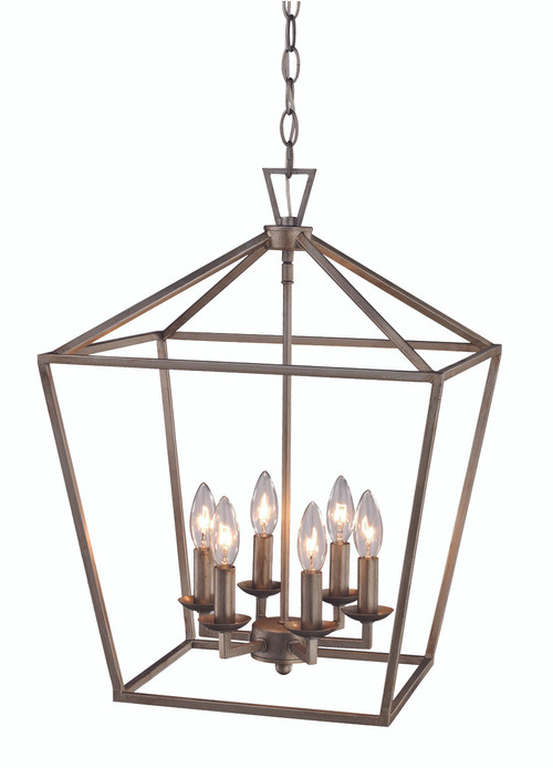 """Lacey 16"""" Indoor Antique Silver Leaf Colonial Pendant with Open Birdcage Style Shade"""