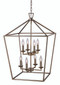 """Lacey 19"""" Indoor Antique Silver Leaf Colonial  Pendant with Open Birdcage Style Shade"""