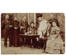 Antique Absinthe Photograph Postcard - Group with Baby Sitting Outside at a Table