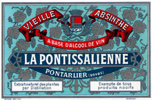 Antique La Pontissalienne Absinthe Bottle Label