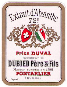 Antique Duval Absinthe Bottle Label, 72 Degree