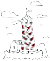 Ovrs11 - Silver & Red Lighthouse