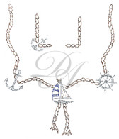 Ovrs4728 - Sailboat, Wheel & Anchor on Rope Square Neckline