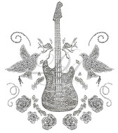 Ovrs2849 - Guitar with Roses & Birds