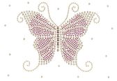 Ovrs1622 - Pink Butterfly with Scattered Gold Nailheads