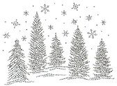 Ovrs5284 - Christmas Trees and Snowflakes Scene
