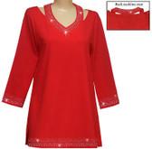 Style #: 1412 - Red w/Design #: Ovrs1441 (Neckline) & Ovrs1441B (Cuff & Hem)