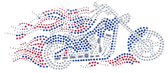 Ovrs1655 - Motorcycle in Red, Clear, and Royal Blue with Flames - ON SALE!