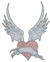 Ovrs2841 - Heart with Blue Wings - ON SALE!