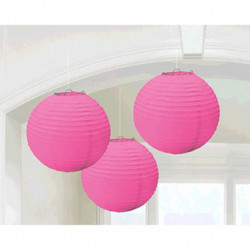 "Paper Lanterns - Bright Pink 9.5"" 3 Pack"