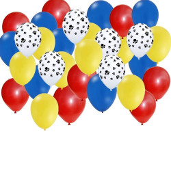 30 pc Set: Paw Party Balloons - Red, Yellow, Blue, Paw Print