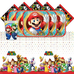 Super Mario Bros Nintendo Children's Birthday Party Tableware Pack for 16