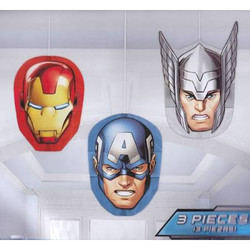 Avengers Assemble (Iron Man, Captain America, and Thor) Honeycomb Decorations 3 count