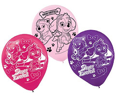 """Girl Pups Paw Patrol 12"""" Latex Balloons 6 Count Skye & Everest"""