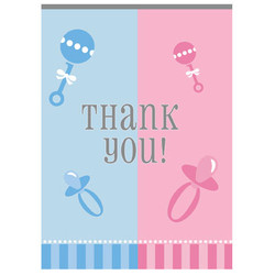 GENDER REVEAL THANK YOU NOTES (8 PACK)