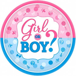 """Girl or Boy? Round Plates, 7"""" (8 pack)"""