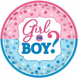 """Girl or Boy? Round Plates, 10 1/2"""" (8 pack)"""