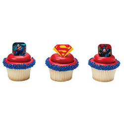 Superman Shield Cupcake Rings (12 count)