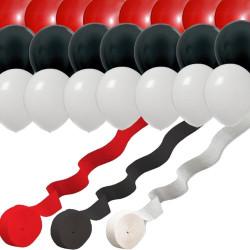 Red White Black: 3 Streamer Rolls & 24 Party Balloons -Inspired Theme Pokemon