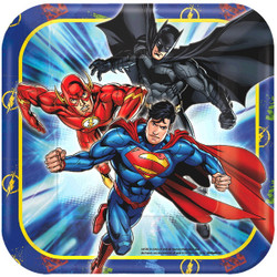 Serve up some super sweet treats on Justice League Dessert Plates. Superman, Batman, and The Flash are featured flying into action on these superhero plates. You can showcase your Justice League cake and set the scene for a knockout Justice League birthday party with these square blue plates. Justice League Dessert Plates product details:  8 per package 7in x 7in Paper