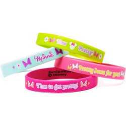 Please your child's fashion-forward party guests with Disney Minnie Mouse rubber bracelets! This pack of four bracelets features four different designs with cute phrases, bright colors and fun icons. One size fits most children. They make the perfect party favors or treat-bag stuffers for a bow-tastic Minnie Mouse-themed birthday party!