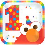 "Elmo Turns One 7"""" Square Plates (8)"