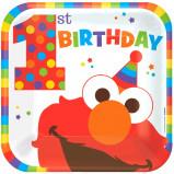 "Elmo Turns One 9"""" Square Plates (8)"